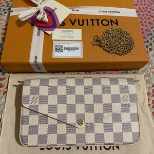 louis Vuitton pochette Felicie damier azur 🎀NEW🎀